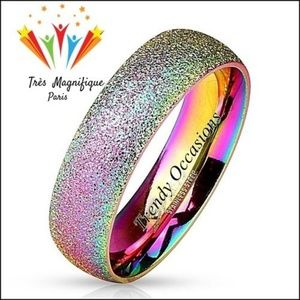 Jewelry - Sparkling Rainbow Dust 316 IP Stainless Band Ring